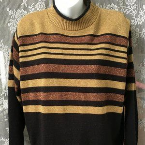 Alfred Dunner Sweater Petite L Metallic Sparly